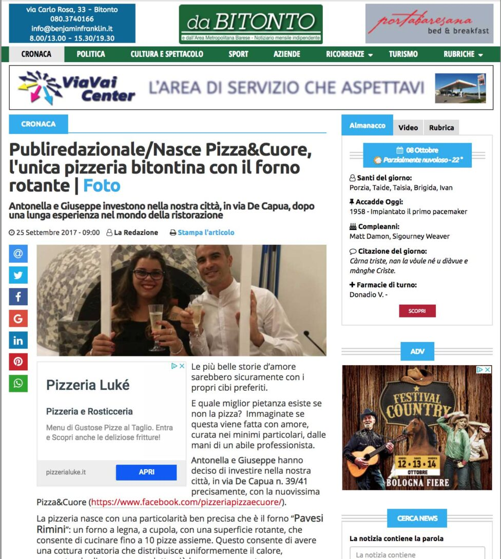 Costruzione forno a legna rotante professionale a Bitonto - Forni Pavesi Rimini